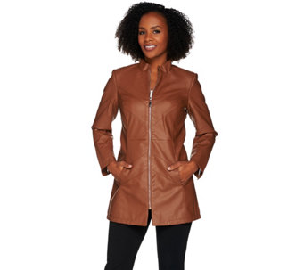Dennis Basso Faux Leather Chevron Seam Jacket - A278701