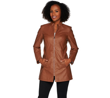 Dennis Basso Faux Leather Chevron Seam Jacket