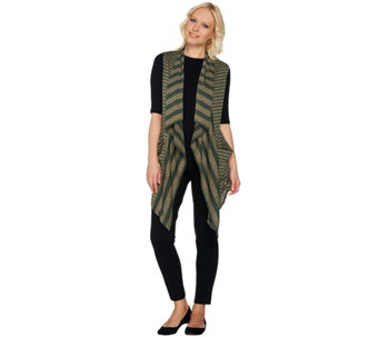 LOGO by Lori Goldstein Mixed Stripe Sweater Knit Vest - A279401