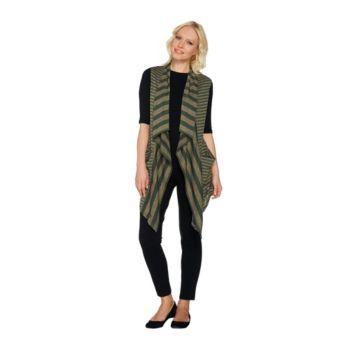 LOGO by Lori Goldstein Mixed Stripe Sweater Knit Vest