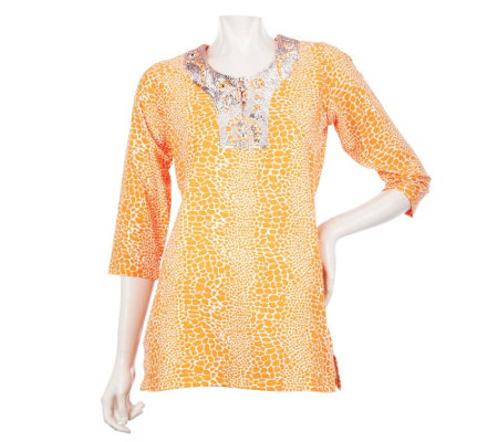 """As Is"" Quacker Factory Snake Printed Tunic w/ Embellished Neckline"