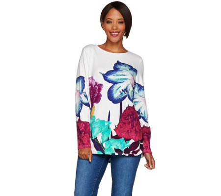 Studio by Denim & Co. Printed Bateau Neck Long Sleeve Top