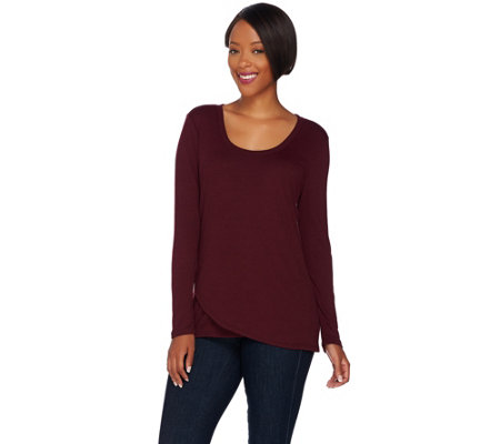 H by Halston Long Sleeve Crossover Front Knit Top