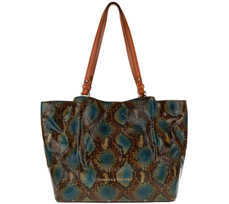 """As Is"" Dooney & Bourke City Python-Embossed Leather Flynn Shoulder Bag"