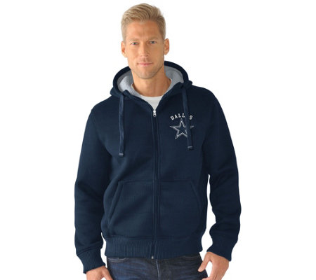 NFL Dallas Team Color Poly Knit with Sherpa Lining Zip Up Hoodie