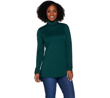 Isaac Mizrahi Live! Knit Long Sleeve Turtleneck Top with Hi-Low Hem