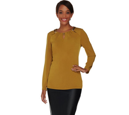 Susan Graver Artisan Liquid Knit Embellished Top w/ Cutouts