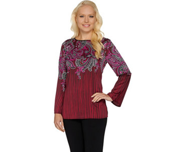 Bob Mackie's Paisley Printed Bell Sleeve Top - A282201