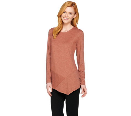 LOGO Lounge by Lori Goldstein French Terry Knit Top with Rib Detail