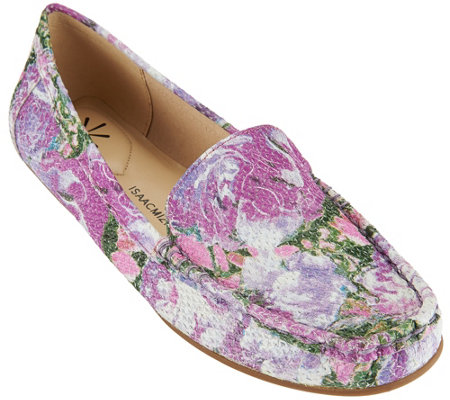 """As Is"" Isaac Mizrahi Live! Floral Printed Leather Mocassins"