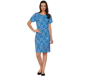 """As Is"" Denim & Co. Active Printed Knit Short Sleeve Dress - A283401"