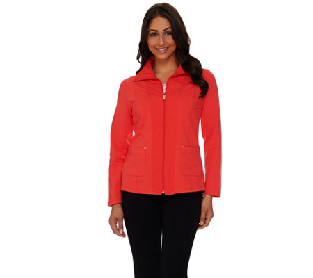 """As Is"" Susan Graver Weekend French Terry Zip Front Jacket"