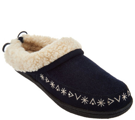 Clarks Faux Shearling Clog Slippers