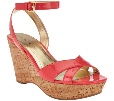 """As Is"" Marc Fisher Cross Strap Wedge Sandals w/Ankle Strap - Welly"