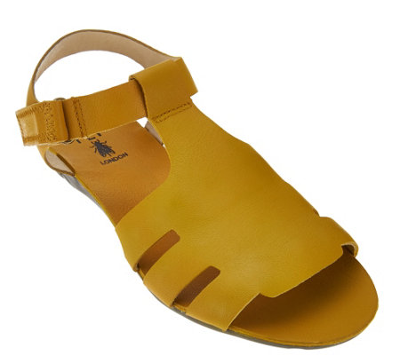 """As Is"" FLY London Leather Adjustable T-strap Sandals - Fely"