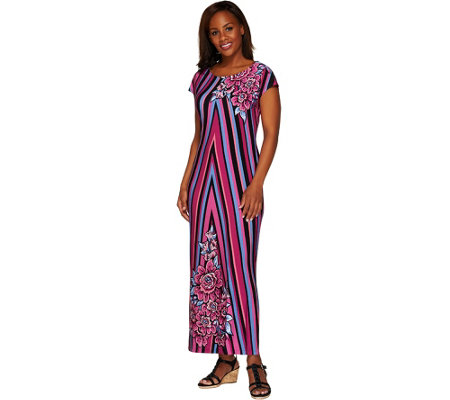 """As Is"" Bob Mackie's Printed Jersey Knit Cap Sleeve Maxi Dress"