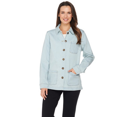 Denim & Co. Long Sleeve Button Front Jacket with Pockets