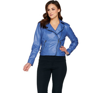 G.I.L.I Faux Leather Double Side Buckle Moto Jacket - A287001