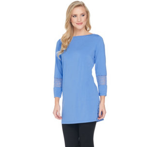 Joan Rivers Jersey Knit Tunic with Lace Detail - A287601