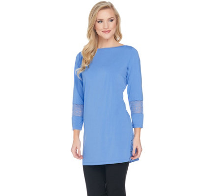 Joan Rivers Jersey Knit Tunic with Lace Detail