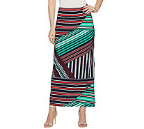 Susan Graver Printed Liquid Knit Maxi Skirt w/ Slit - Regular - A287701