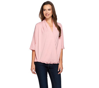 """As Is"" H by Halston Draped Wrap Front Knit Elbow Sleeve Top - A287901"
