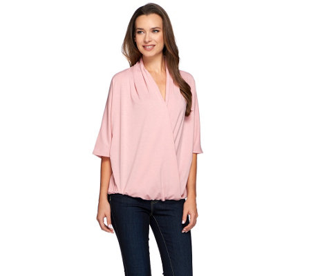 """As Is"" H by Halston Draped Wrap Front Knit Elbow Sleeve Top"