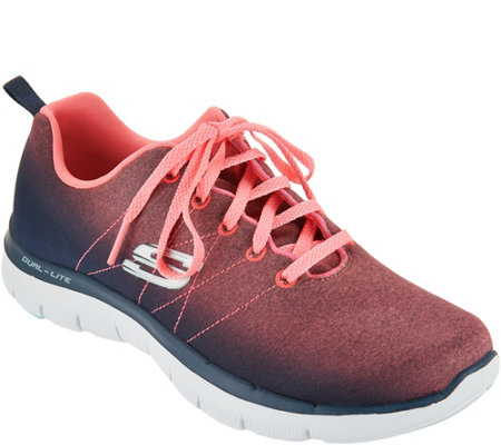 Skechers Heathered Ombre Lace-up Sneakers - Bright Side