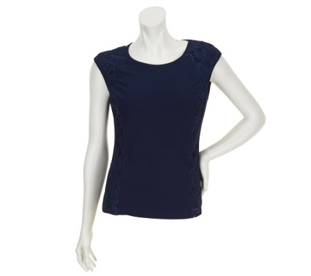 """As Is"" Status by Star Jones Knit Tank with Lace Side Panels"