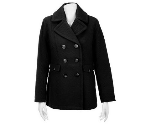 """As Is"" Liz Claiborne New York Fully Lined Cavalry Twill Pea Coat"