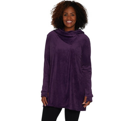 Cuddl Duds Double Plush Velour Cowl Hood Wrap
