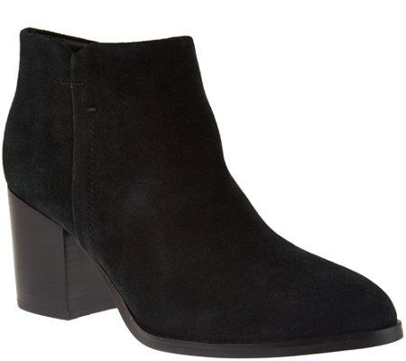 """As Is"" Marc Fisher Suede Block Heel Ankle Boots - Vandra"