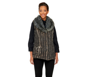 """As Is"" Dennis Basso Fuax Fur Shawl Collar Vest - A293501"