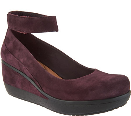 Clarks Artisan Leather Wedges w/ Ankle Strap -Wynnmere Fox