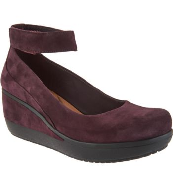 Clarks Artisan Leather Ankle Wrap Wedge Pumps- Wynnmere Fox
