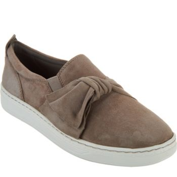 Earth Suede Slip-ons with Knot Detail - Zoey