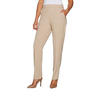 Susan Graver Regular Chelsea Stretch Straight Leg Pull-On Pants - A298501