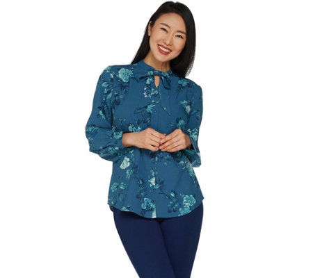 Denim & Co. Floral Print Tie Neck Long Sleeve Blouse