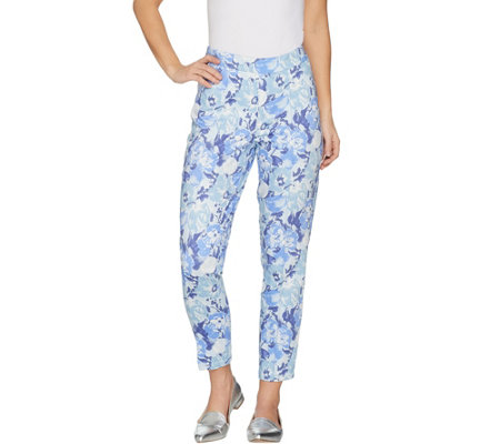 Isaac Mizrahi Live! Regular Brushed Sateen Printed Pull-On Ankle Pants
