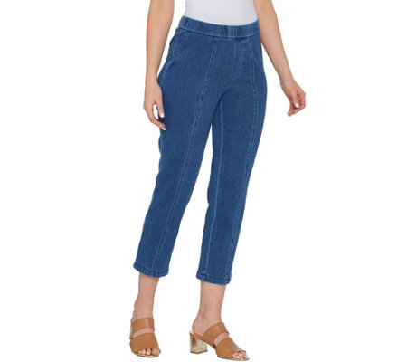 Isaac Mizrahi Live! Regular Knit Denim Crop Pull-On Jeans