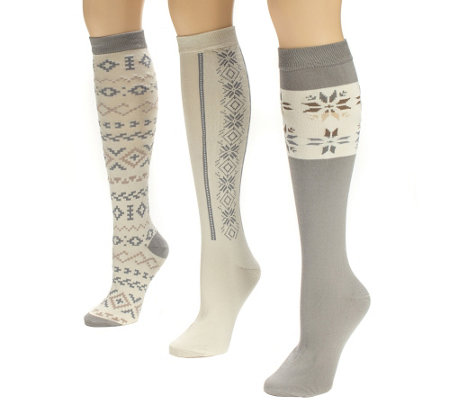 MUK LUKS Women's 3-Pair Over-the-Knee TexturedSocks