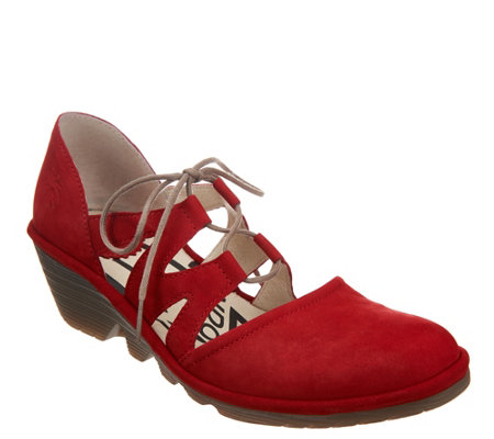 """As Is"" FLY London Leather Tie Front Wedges- Phis"