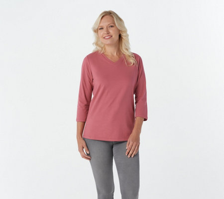 Denim & Co. Essentials Perfect Jersey 3/4 Sleeve Top