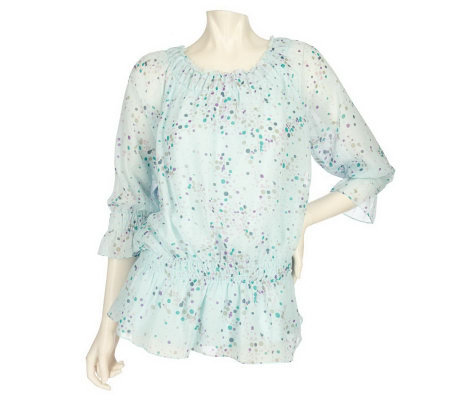 Simply. Chloe Dao Printed Chiffon Blouse with 3/4 Sleeves
