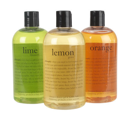 philosophy orange cassis, lime blossom & lemongrass 16oz shower gel trio