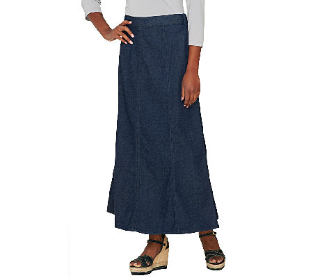 Denim & Co. Long Denim Gore Skirt with Elastic Waist - Page 1 ...