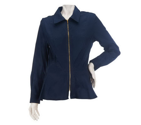 Linea by Louis Dell'Olio Zip Front Blouse with Uneven Hem