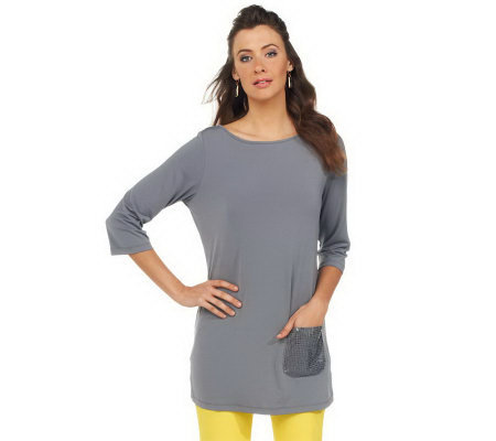 Joan Rivers 3/4 Sleeve Long T-Shirt with Sequin Pocket