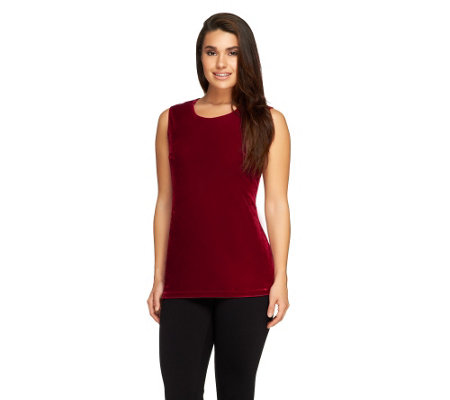 Denim & Co. Stretch Velvet Sleeveless Tank