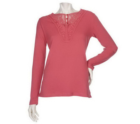 """As Is"" Denim & Co. Long Sleeve Ribbed Henley with Lace Trim"